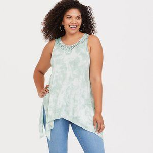 torrid Tops - Torrid Super Soft Sharkbite Tank Top Tie Dye Mint